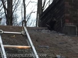 A view of the roof and chimney, where the fire started.