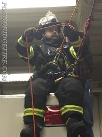 Firefighter Price-Morris preparing for his decent.