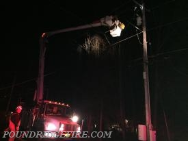 NYSEG cutting power to the wires that had fallen on Salem Rd.