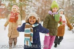 Wear appropriate outdoor clothing: layers of light, warm clothing; mittens; hats; scarves; and waterproof boots.
